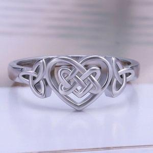 Romantic 925 Silver Heart Shape Wedding Ring New